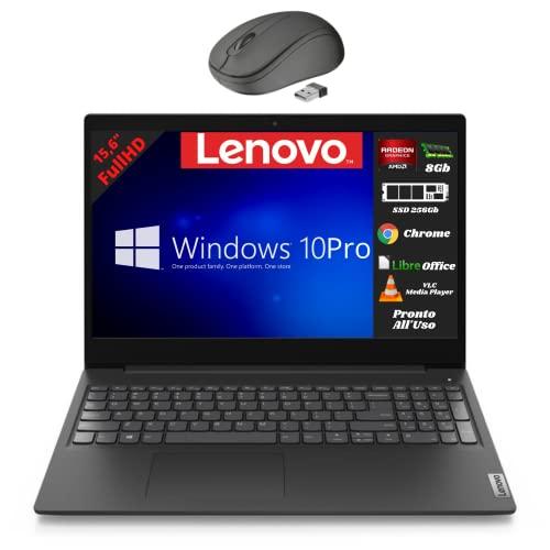 Lenovo, Pc portatile notebook, Display FHD da 15,6', cpu A3020e, ram 8Gb, ssd m2 256Gb, windows 10 pro, computer portatile pronto all'uso + mouse wireless