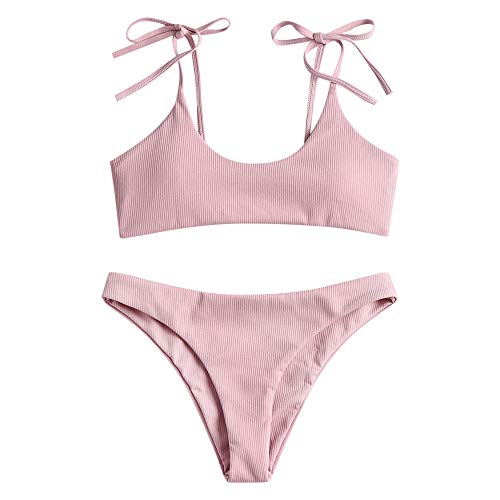 ZAFUL Damen Einfarbiger Gerippter Geknoteter Brazilian Bikini-Set Sexy Badeanzug Sommer Beachwear(Hellrosa S)