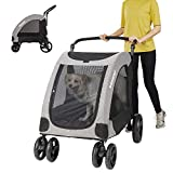 Vergo Dog Stroller Pet Jogger Wagon Foldable Cart with 4 Wheels, Adjustable Handle, Zipper Entry, Mesh Skylight Stroller for a Variety of Roads for Small to Large Dogs and Other Pet Travel (Grey)