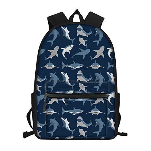 Nopersonality Schulrucksack für Kinder, niedlicher Hund und Katze, Faultier-Ball, Schultertasche, Studenten, Büchertasche, Tagesrucksack, Rucksack, hai (Blau) - Nopersonality