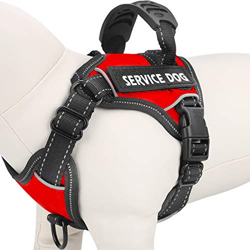 Vovodog Service Dog Harness, Adjustable No-Pull Pet Vest Harness, Comfortable Padded Dog Training Vest, Mesh Design with Hook and Handle for Small Medium Large Dogs