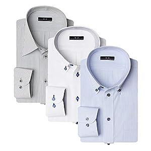 (アトリエ 365) ワイシャツ メンズ 福袋 3枚セット Yシャツ メンズ 形態安定 ボタンダウン レギュラー/al-fuk-3fix-LL-long