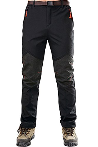 Micosuza Herren Softshellhose Fleece Wanderhose Winddicht Wasserdicht Softshell Outdoorhose, Schwarz, EU L=Label 2XL