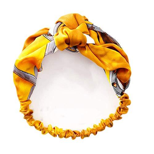 Weiqiao® Bandeau Cheveux en Tissu Imprimé Noeud de Papillon Flexible Headband Vintage Accessoir Élastique pour Voyage Vacances Femme Fille (jaune)