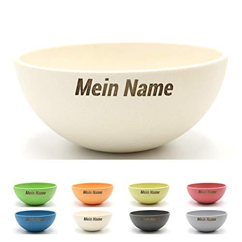 Magu 2X Personalisierte Müslischüssel Gravur 16cm ideal als Osternest mit Namen Bambus Schüssel - Individuelle Namensgravur 135062 weiß