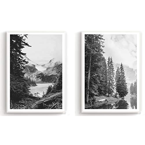 Flanacom Design Poster 2er Set A3 Schwarz Weiß - hochwertiger Kunstdruck auf Hochglanz Premiumpapier - Bilder Skandinavisch - Moderne Deko Wohnung - Motiv Wald Berg See (27 x 42 cm) (ohne Rahmen)