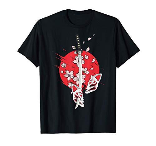 Japan Anime Maske Kitsune Style Samurai Oni Monster T-Shirt