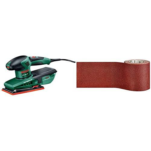 Bosch Schleifmaschine PSS 250 AE (250 Watt, Schwingkreis 2 mm, Schleiffläche 167 cm2, im Koffer) & Professional Schleifrolle für Weichholz, Breite: 93 mm Länge: 5 m Körnung 120 C410)