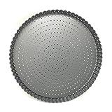 MGE - Teglia Rotonda da Forno Antiaderente per Cucinare Flan/Quiche Croccanti - Stampo Rotondo da Forno Antiaderente - Base Removibile - 24 cm