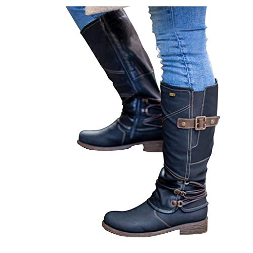 Haomigol Women's Ankle Bootie Retro Warm Leather Ankle Boots Shoes Women Flat Boots Martin Boots Western Boot Cowgirl Bootie Black