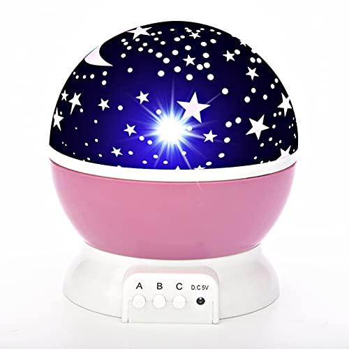 HSJ LáMparas de Mesa Led Salon de Noche Vintage, Proyector de Estrellas de Luz Nocturna con LED para el Dormitorio/Ambiente de Luz Nocturna/Techo/Fiesta (Pink)