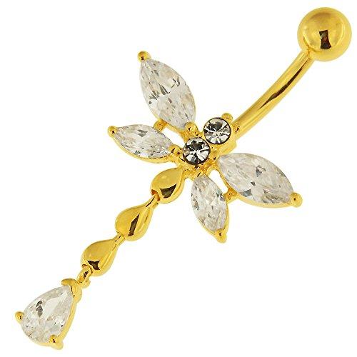 Monster-Piercing 3 Mikron Gelbgold vergoldet klare CZ Stein Libelle mit langem Schwanz baumelnd 925 Sterling Silber Bauchnabelpiercing Schmuck