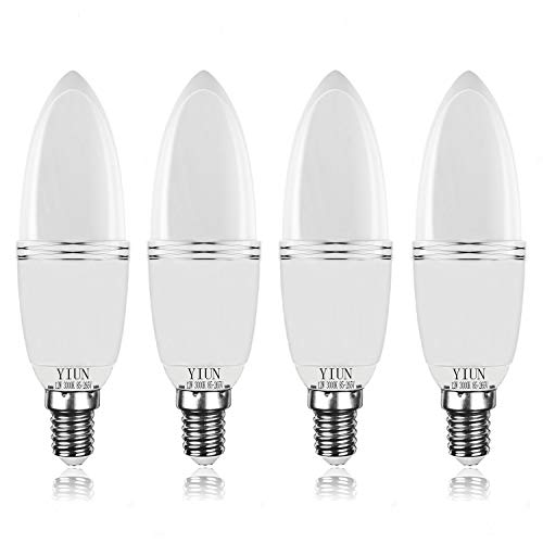 Bombillas de vela LED Yiun E14, Bombillas de candelabro LED 12W Equivalente de 100 vatios, 1200lm, 3000K, Vela decorativa E14, Lámpara LED no regulable, Paquete de 4
