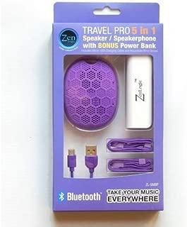 Zen Logic ZL-SMBP Bluetooth Speaker with Speakerphone Feature and Bonus Power Bank for Universal/SmartPhones - Retail Packaging - Purple