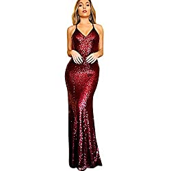 Red Sequin Long V-Neck Formal Nightgowns