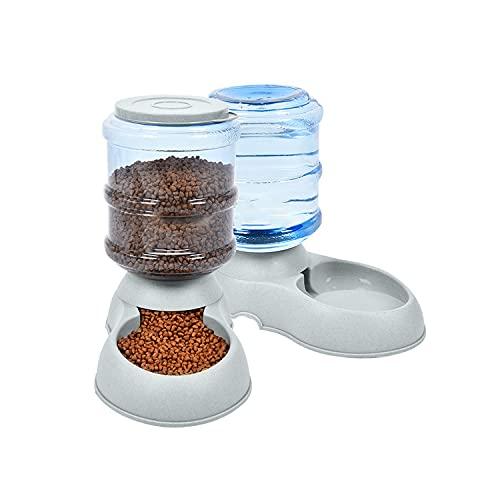 Futterautomat und Wasserspender für Haustiere Futterautomat Katze,Automatischer Futterspender & Wassertränker im Set für Kleintiere,Hund Schüssel,jeweils 3.8L PBA frei