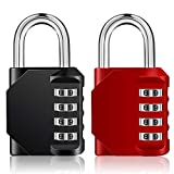 Combination Lock 2 Pack, 4 Digit Combination Padlock Outdoor, School Lock, Gym Lock Red and Black Lock
