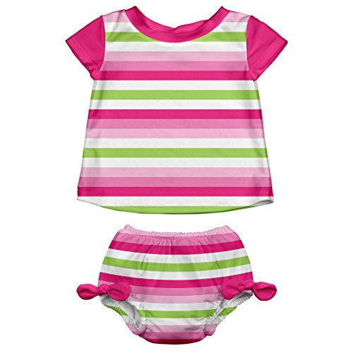 i play. Baby Girls' Swimsuit Set With Reusable Swim Diaper, Pink Stripe, 18 Months