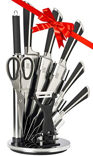 8pc Kitchen Knife Block Set - Taylors Eye Witness. Finely Ground Razor Sharp Stainless Steel Blades, Moulding Into Soft Grip Handles. Matching Rotating Holder. 5 Knives, Scissors, Sharpener, Peeler.