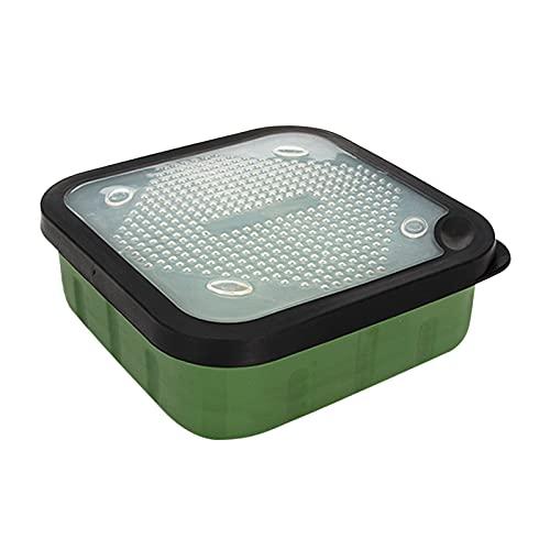 freneci Caja de Cebo de Pesca Caja de Señuelos de Pesca Cuadrada Multifunción Caja de Almacenamiento de Señuelos de Gusano PP con Orificios de Ventilación CAJ - S