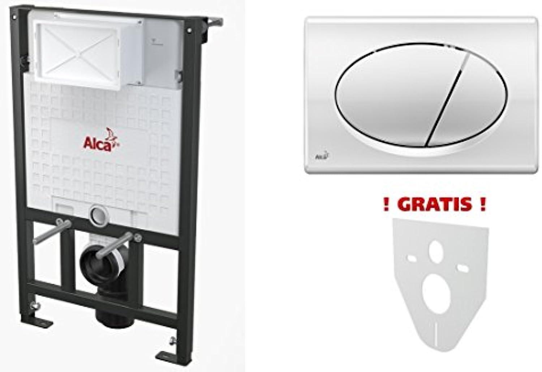 WC Vorwandelement für Trockenbau 100 cm inklusive Bettigungsplatte Chrom Glnzend Oval Unterputzspülkasten Spülkasten Wand WC hngend