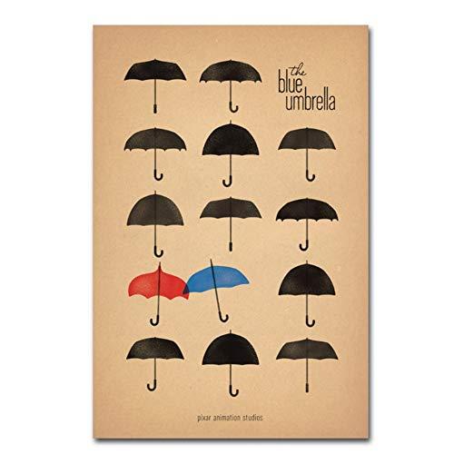 GIRDSS Retro-Stil dekorative Gemälde der Blaue Regenschirm Wand Bild Poster und Drucke Leinwand Kunst für Wohnkultur-50X80cm No Framed