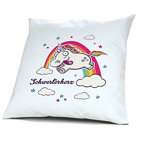 Kopfkissen mit Namen Schwesterherz - Motiv Verrücktes Einhorn, 40 cm, 100% Baumwolle, Kuschelkissen, Liebeskissen, Namenskissen, Geschenkidee