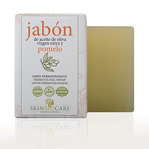 Jabón facial Pomelo y AOVE -Beneficios: anti acné, mejora de soriasis, eccemas y dermatitis de la piel -Elaboración artesanal y ecológica- 100 gramos SkinBioCare
