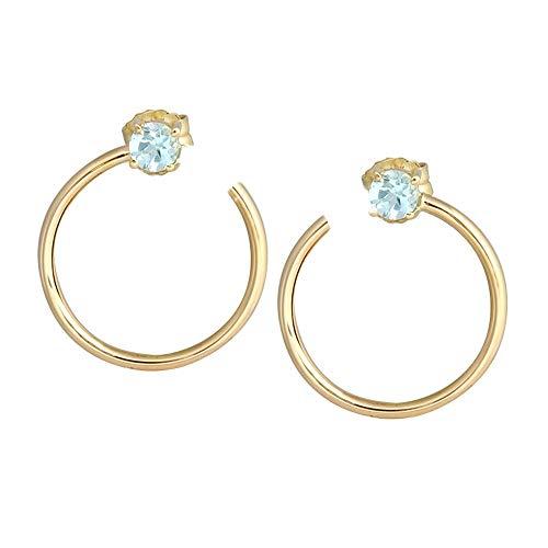 Pendientes oro 18k colección Sena 16mm. aros abiertos topacios azules cierre presión