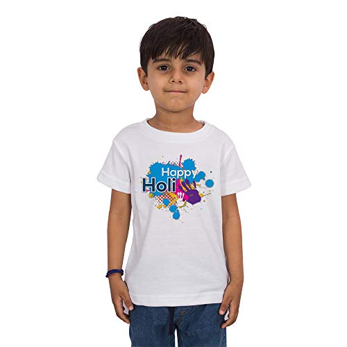 FADE COLLECTION - Happy Holi Colorful Holi Special Printed Kids Half Sleeves Casual Wear T-Shirt (Boys/Girls) (11-12 Years) White