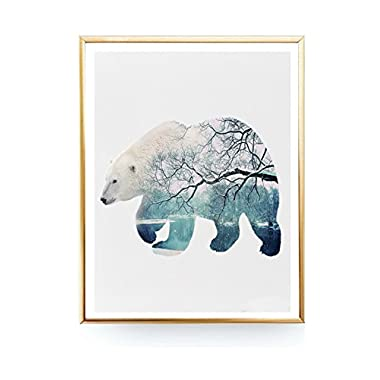 MS Fun Polar Bear In Snow Canvas Art Print Poster Wall Pictures for Home Decoration Wall Decor,Not Included Outer Frame, 8' x 10' Inch
