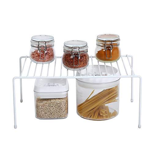 Smart Design Cabinet Storage Shelf Rack - Medium (8.5 x 13.25 Inch) - Steel Metal Wire - Cupboard, Plate, Dish, Counter & Pantry Organizer Organization - Kitchen [White]