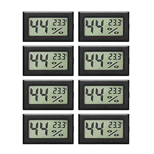 8er-Pack Mini-Hygrometer-Thermometer Digitaler Luftfeuchtigkeitsmesser-Monitor mit Temperaturmesser-Sensor für Gewächshausautos Home Office, Celsius (°C)