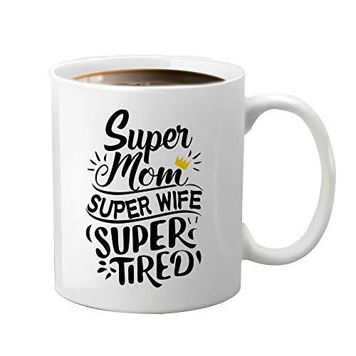 JioJio CHAN Taza de café divertida de 11 oz Super Mom Super Wife Regalos para mamá esposa. Día de la Madre Día de Acción de Gracias Aniversario Regalo de Navidad