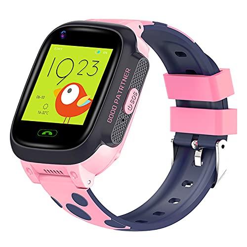 FVIWSJ Reloj Inteligente Multifuncional,Pulsera con Pantalla táctil y GPS para niños y niñas,teléfono Impermeable IP67 con Juegos Llamadas,Despertador SOS,Juguetes,Regalos cumpleaños,Rosado