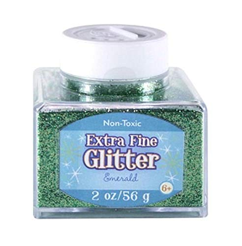 Sulyn Extra Fine Emerald Green Glitter Stacker Jar, 2 Ounces, Non-Toxic, Stackable and Reusable Jar, Multiple Slot Openings for Easy Dispensing and Mess Reduction, Green Glitter, SUL50869