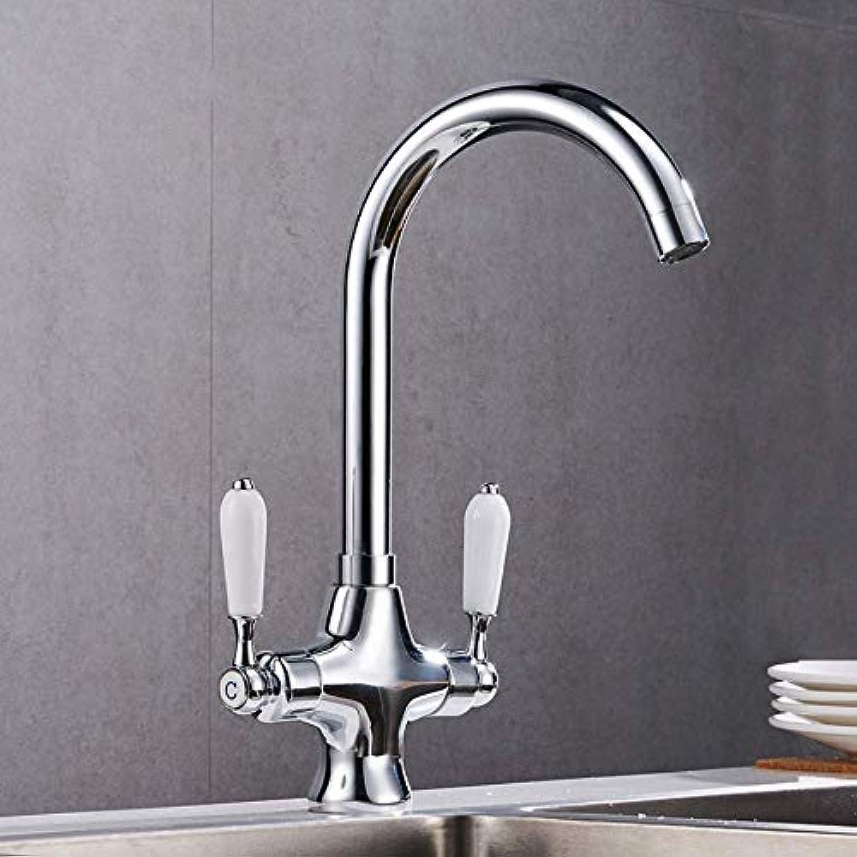 Wasserhahn Küche Waschbecken Badezimmer Zwei-Griff-Wasserhahn Silber Küche heien und kalten Waschbecken Wasserhahn Messing Klassische drehbare Hahn Küchenarmatur