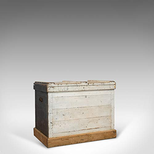 Baúl de viaje antiguo, inglés, pino, con revestimiento de zinc, cofre de carro, victoriano