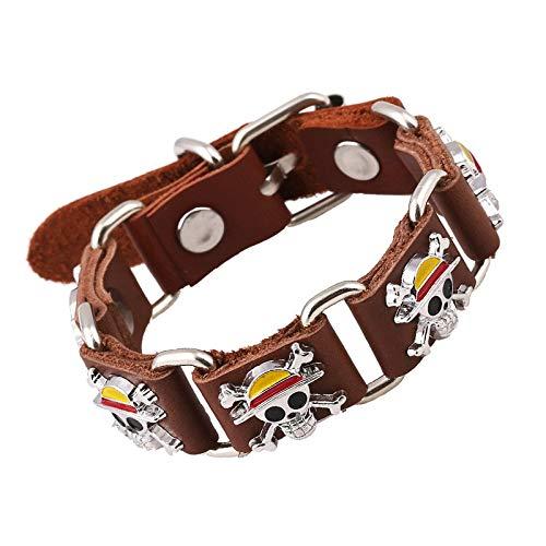 RQWY Armband Anime One Piece Leder Armband Punk Pirate Skeleton Armbänder Männer Schmuck Calaveras Schädel Hand Ketten Armband