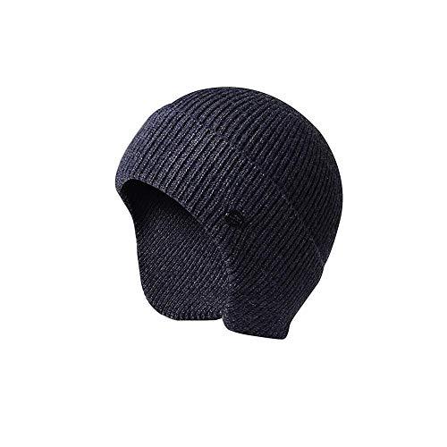 Wintermütze Warm Beanie Strickmütze Unisex Ohrenmütze Wollmütze Skimütze Für Damen Und Herren, Mit Futter, Einheitsgröße (Schwarz/Marine)