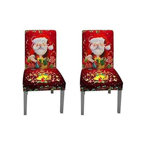 2 Fundas para sillas de Navidad Estampadas para decoración navideña, Banquetes, Fiestas en el hogar