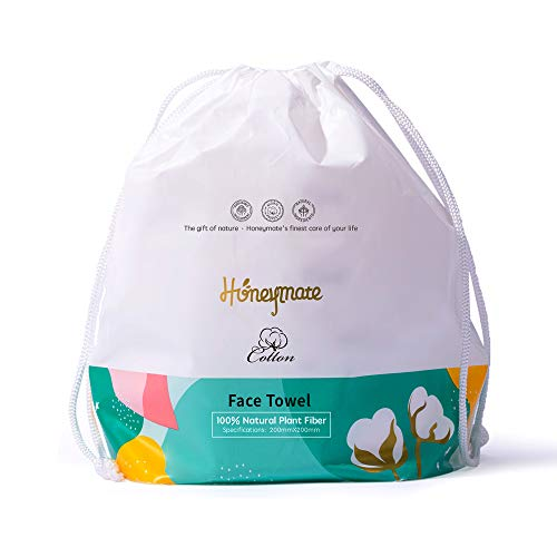 Honeymate Cotton Face Towels, 90 Count Ultra Soft Extra Thick Disposable Facial Tissues for Sensitive Skin and used as Cleansing Towelettes, Makeup Remover