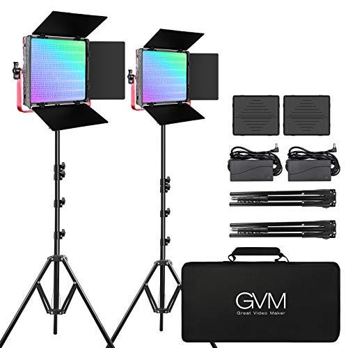GVM 1200D PRO RGB LED Video Light, 50W Video Lighting Kit with APP Control, Photography Lighting kit for YouTube Studio, 2 Packs Led Panel Light, 3200K-5600K, Aluminum Alloy Shell, CRI 97