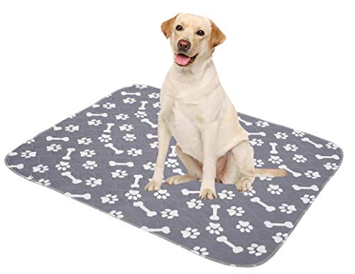Brabtod Dog Pee Pads (4pack) of Super Absorbent for Pets Dogs Foldable and Washable Dog Pads & Reusable Dog Pee Pads-Gray-S