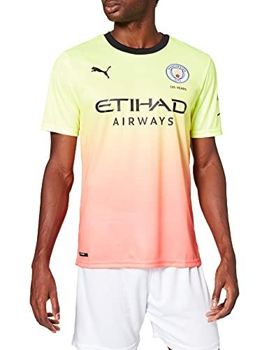 PUMA MCFC FC Third Shirt Replica SS with Sponsor Logo Maillot, Hombre, Fizzy Yellow-Georgia Peach, L