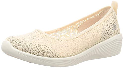 Skechers Arya-Airy Days, Bailarinas con Punta Cerrada Mujer, Beige Natural Crochet Off White Trim Nat, 38 EU