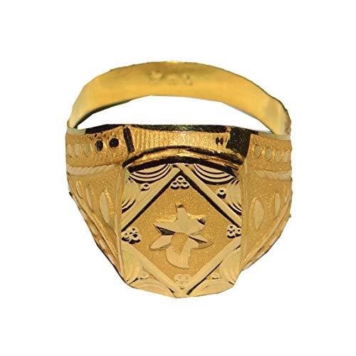 Satfale Jewellers Anillo para Hombre Certificado sólido de Oro Fino Amarillo de 20 Quilates con diseño Abstracto