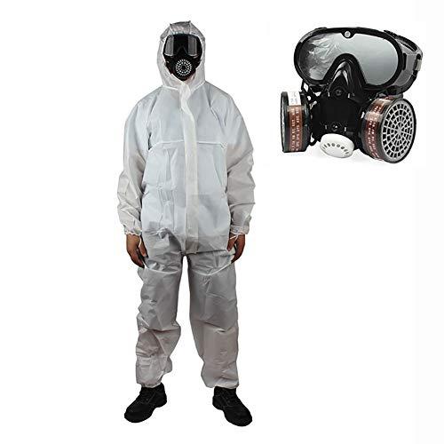 LISI Wegwerp Beschermend Suit, Hooded Microporous Beveiliging Kleding Elastische Ademende Film Isolatie Coverall Waterdicht Stof-Proof voor Chemische Werkkleding