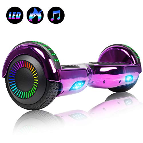 """Felimoda Hoverboard with Bluetooth, 6.5"""" LED Light Wheel Self Balancing Scooter, Two-Wheel Hoverboard, Electric Scooter for Kids & Adult, UL2272 Certified Self Balancing Hoverboards - Purple"""