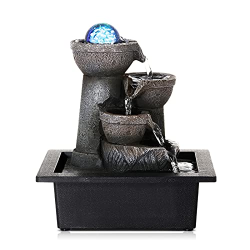 Dyna-Living Water Fountains Indoor Tabletop Water Fountain with LED Coloured Lights Rolling Ball Waterfall Fountain for Modern Home Decor Office Decoration Home Gifts for Friends
